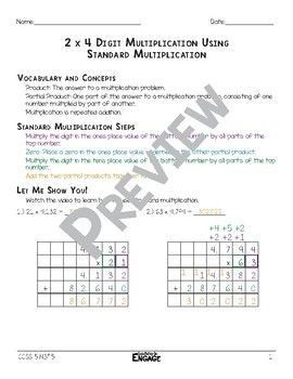 2x4 Digit Multiplication Using Standard Multiplication Math Video and Worksheet