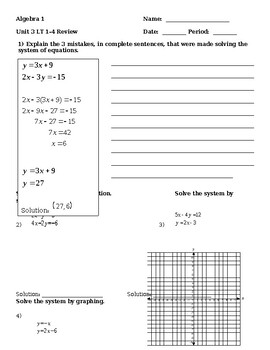 3.1-3.4 Review - Systems of Equations (Elimination, Substitution, & Graphing)
