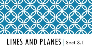 3.1 - Lines and Planes (Parallel and Perpendicular) Lesson PowerPoint