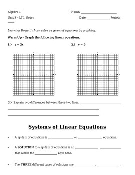 3.1 Notes - Solving Systems By Graphing
