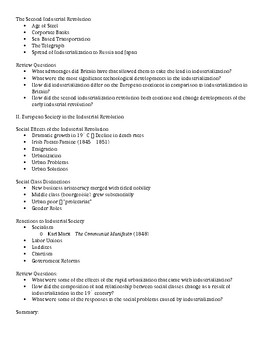 3.1 The Industrial Revolution - Student Outline