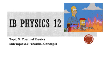 3.1 Thermal Concepts Lecture Notes