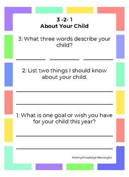 "3-2-1 ""About Your Child"" Form"