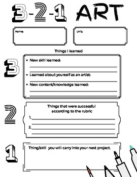 3-2-1 Art Reflection Worksheet