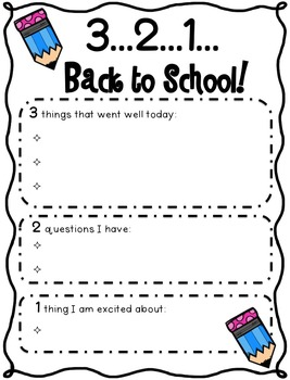 Back to School Reflections Graphic Organizer