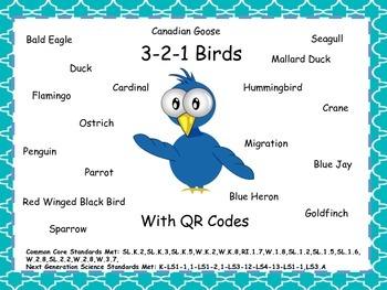3-2-1 Birds With QR Codes (Common Core Aligned) 18 Birds