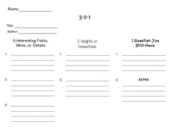 3-2-1 Comprehension Strategy Graphic Organizer