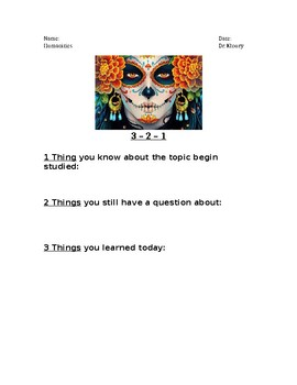 3-2-1 Day of the Dead Activity to review holiday