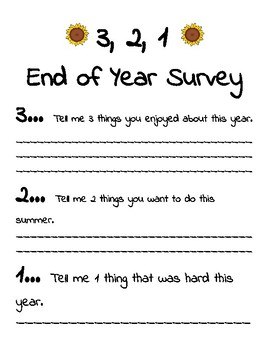3, 2, 1 End of Year Survey