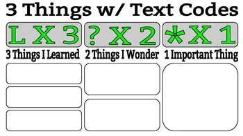 3, 2, 1 Exit Slip OR Check for Understanding with Text Codes