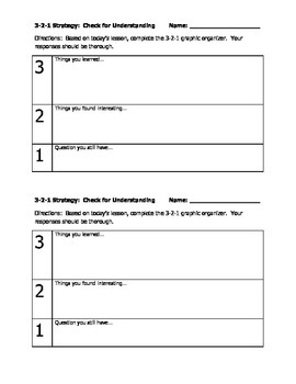 3-2-1 Exit Slip Strategy for Formative Assessment