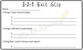3-2-1 Exit Slips