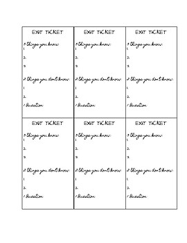3 2 1 Exit Tickets