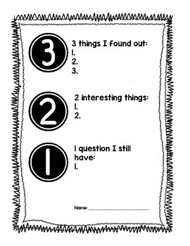 3-2-1 Formative Assessment