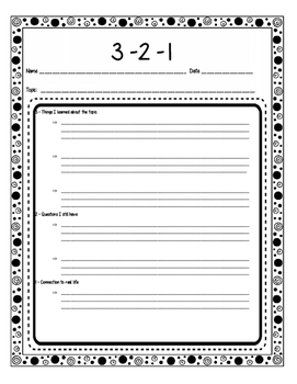 3-2-1 Formative Assessment Templates