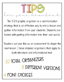 3-2-1 Graphic Organizers BUNDLE!