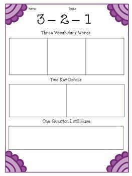 3-2-1 Graphic Organizers (Set of 4)