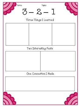3-2-1 Graphic Organizers (Set of 4)