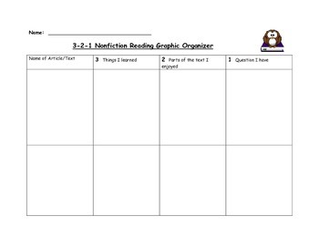 3-2-1 Graphic organizer for nonfiction reading
