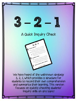 3-2-1 Inquiry Quick Check