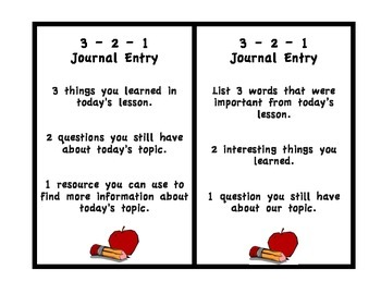 3-2-1 Interactive Journal Entry Cards (Formative Assessment)