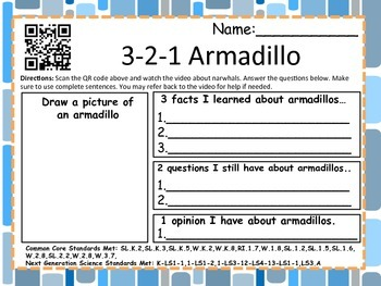 3-2-1 Mammals With QR Codes (Common Core Aligned) 36 Animals