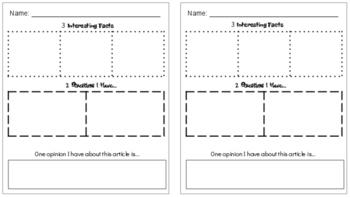 3-2-1 Non-Fiction Article