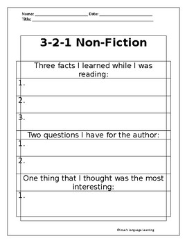 3-2-1 Non-Fiction Graphic Organizer