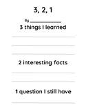 3, 2, 1 - Nonfiction Response Sheet