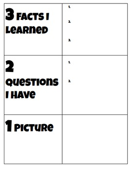 3 2 1 Notes Graphic Organizer