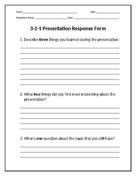 3-2-1 Presentation Response Form