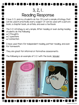 3, 2, 1... Reading Response FREEBIE
