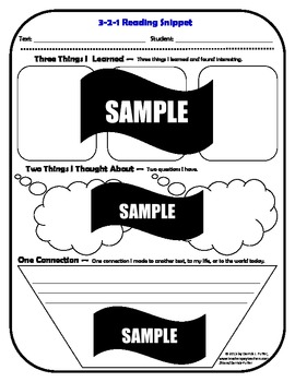 Fiction and Non-Fiction Reading Strategies: 3-2-1 Snippets (Summaries)