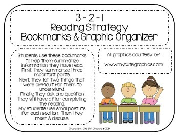 3 - 2 - 1 Reading Strategy:  Bookmarks & Graphic Organizer