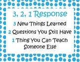 FREEBIE 3, 2, 1 Response Poster