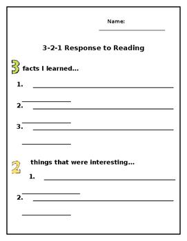 3-2-1 Response to Reading
