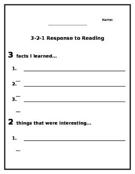 3-2-1 Response to Reading FREEBIE