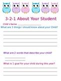 3-2-1 Student Info Sheet Owl Theme