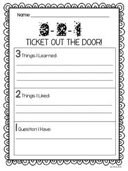 3-2-1 Ticket Out the Door