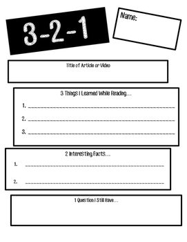 3-2-1 Worksheet