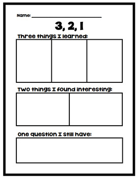 3, 2, 1 Worksheet