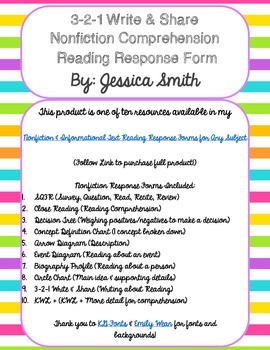 3-2-1 Write & Share Nonfiction Response Form