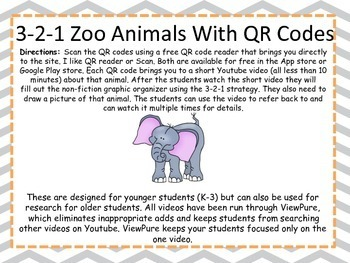 3-2-1 Zoo Animals With QR codes (Common Core Aligned) 26 animals