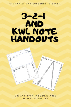 3-2-1 and KWL Note Handouts
