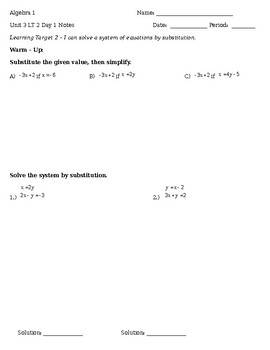 3.2 Day 1 Notes - Substitution