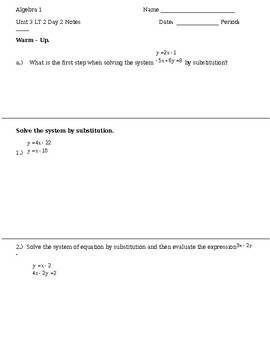 3.2 Day 2 Notes - Substitution
