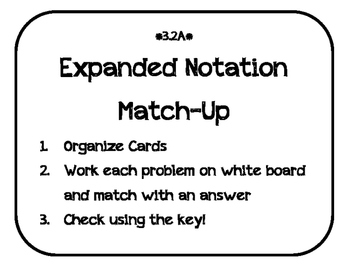 3.2A Place Value Expanded Notation Match-Up