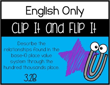 3.2B - Place Value Relationship - Clip It and Flip It Activity - English ONLY