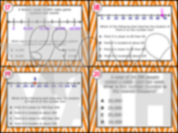 3.2C: Rounding with Number Lines STAAR Test Prep Task Cards (3.NBT.1)