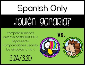 3.2D - Who Would Win? - Comparing Whole Numbers Activity - SPANISH ONLY